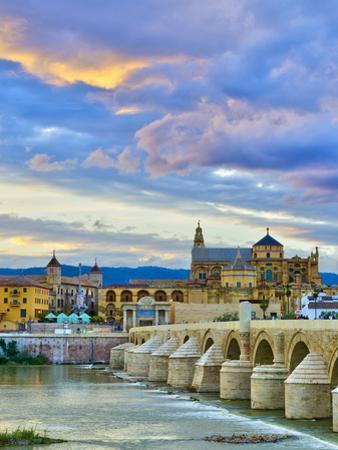 Roman Bridge Over Guadalquivir River and Mezquita, Cordoba, Cordoba Province, Andalucia, Spain