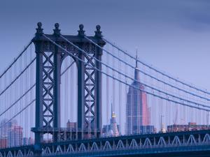 USA, New York, Manhattan, Manhattam Bridge and Empire State Building by Alan Copson