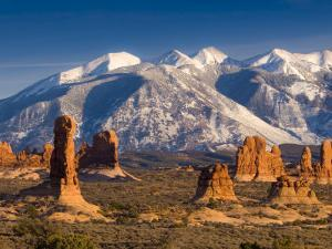 Utah, La Sal Mountains from Arches National Park, USA by Alan Copson