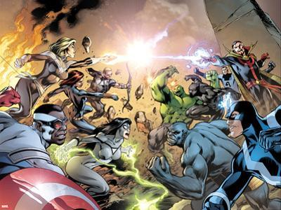 Avengers No. 39 Cover, Featuring: Captain Marvel, Falcon Cap, Hawkeye, Black Widow, Spider Woman by Alan Davis