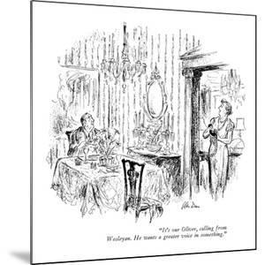 """""""It's our Oliver, calling from Wesleyan. He wants a greater voice in somet?"""" - New Yorker Cartoon by Alan Dunn"""