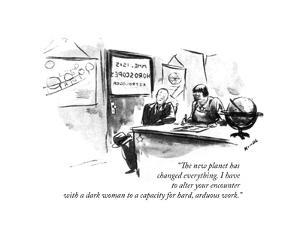 """""""The new planet has changed everything. I have to alter your encounter wit?"""" - New Yorker Cartoon by Alan Dunn"""