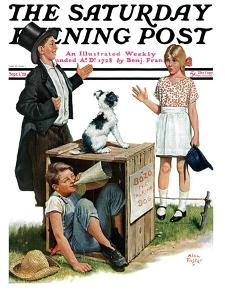 """""""Bozo, the Talking Dog,"""" Saturday Evening Post Cover, September 1, 1928 by Alan Foster"""