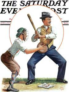 """Dad at Bat,"" Saturday Evening Post Cover, June 1, 1929 by Alan Foster"