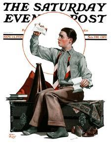 """""""Dad, Where's the Cash?,"""" Saturday Evening Post Cover, November 14, 1925 by Alan Foster"""