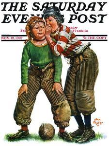 """""""Football Huddle,"""" Saturday Evening Post Cover, November 12, 1927 by Alan Foster"""