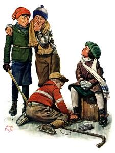 """Hockey Waits, Tying Skates,""December 17, 1927 by Alan Foster"