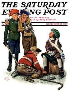 """""""Hockey Waits, Tying Skates,"""" Saturday Evening Post Cover, December 17, 1927 by Alan Foster"""