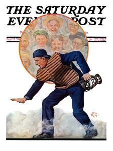 """""""Safe at the Plate,"""" Saturday Evening Post Cover, September 29, 1928 by Alan Foster"""
