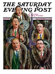 """""""Singing Men in Raccoon Coats,"""" Saturday Evening Post Cover, November 16, 1929 by Alan Foster"""