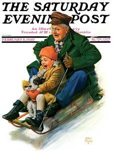 """Sledding with Grandpa,"" Saturday Evening Post Cover, February 8, 1930 by Alan Foster"