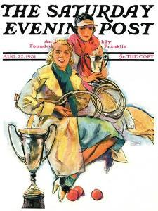 """""""Tennis Champs,"""" Saturday Evening Post Cover, August 22, 1931 by Alan Foster"""