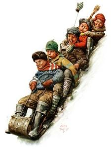 """Tobogganing,""January 7, 1928 by Alan Foster"