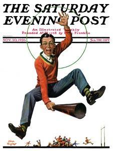 """""""Touchdown,"""" Saturday Evening Post Cover, November 20, 1926 by Alan Foster"""
