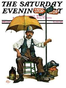 """""""Traffic Cop,"""" Saturday Evening Post Cover, June 5, 1926 by Alan Foster"""