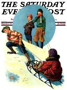 """""""Uphill Sledding,"""" Saturday Evening Post Cover, March 7, 1931 by Alan Foster"""