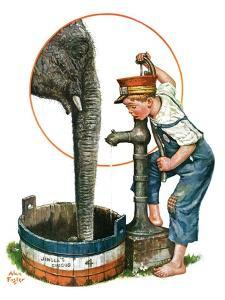 """""""Watering the Elephant,""""July 16, 1927 by Alan Foster"""