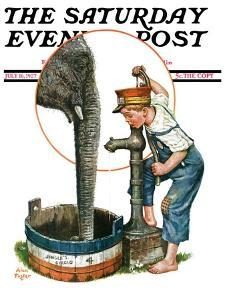 """""""Watering the Elephant,"""" Saturday Evening Post Cover, July 16, 1927 by Alan Foster"""