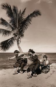 Hula Dancers on the Beach, Hawai?i by Alan Houghton