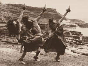 Three Hawaiian Hula Dancers by Alan Houghton