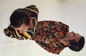 Two Models Wearing Alexander Shields' Cotton Leisure Suits in Different Prints by Alan Kaplan