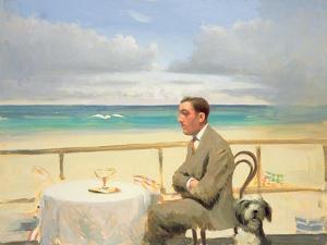 Porthmeor Man and Dog by Alan Kingsbury
