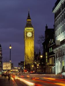 Big Ben at night with traffic, London, England by Alan Klehr