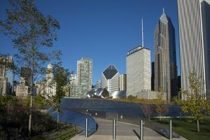Bp Bridge in Millennium Park in Chicago, Early Morning in Autumn, with Skyline by Alan Klehr