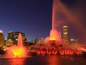 Buckingham Fountain illuminated at night, Chicago, Illinois, USA by Alan Klehr