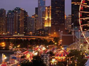 Chicago Navy Pier and Skyline at Night, Chicago, Illinois, Usa by Alan Klehr