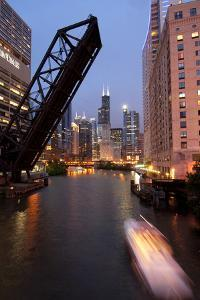 Chicago River and Skyline at Dusk with Boat by Alan Klehr