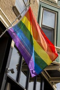 Colorful Rainbow Flag on Halsted Street in 'Boystown' the Gay Neighborhood in Chicago Northside by Alan Klehr
