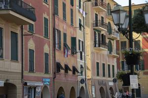 Italy, Liguria Province, Santa Margherita Ligure, pastel buildings by Alan Klehr