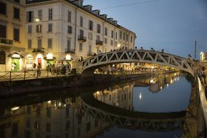 Italy, Lombardy, Milan. Historic Naviglio Grande canal area known for vibrant nightlife by Alan Klehr