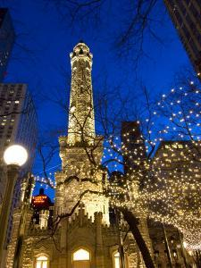 Old Water Tower with holiday lights, Chicago, Illinois, USA by Alan Klehr