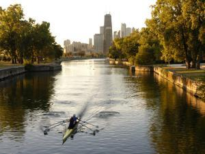 Rowers in Lincoln Park lagoon at dawn, Chicago, Illinois, USA by Alan Klehr