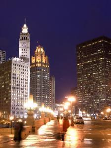 Wacker Drive and Skyline at night, Chicago, Illinois, USA by Alan Klehr