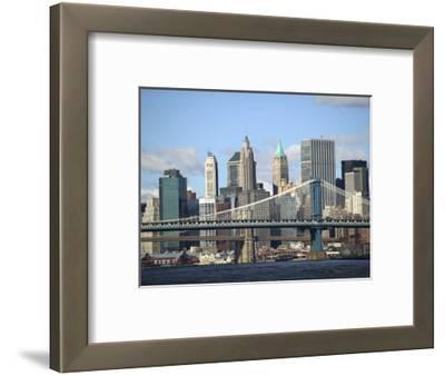 Skyline of New York City with East River, Manhattan and Brooklyn Bridge