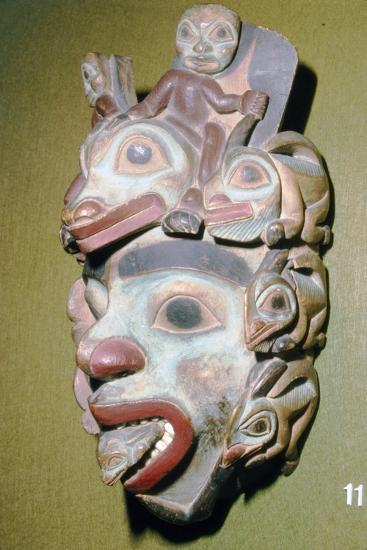 Alasa, Face Mask with fish from coming out of mouth, North American Indian-Unknown-Giclee Print