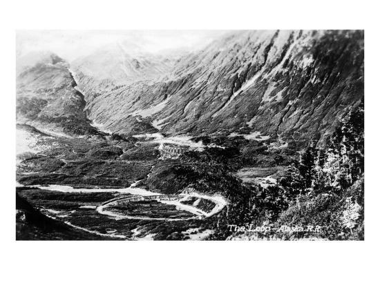 Alaska - Aerial View of a Railroad Track Loop-Lantern Press-Art Print