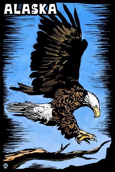 Alaska - Bald Eagle - Scratchboard-Lantern Press-Wall Mural