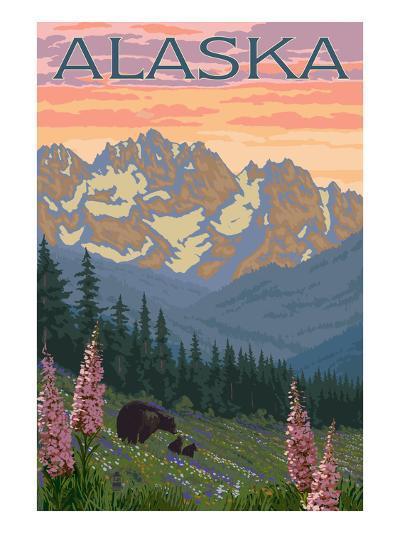 Alaska - Bear and Cubs Spring Flowers-Lantern Press-Art Print