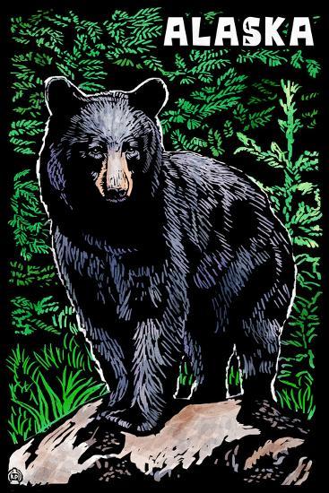Alaska - Black Bear - Scratchboard-Lantern Press-Wall Mural