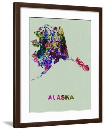 Alaska Color Splatter Map-NaxArt-Framed Art Print