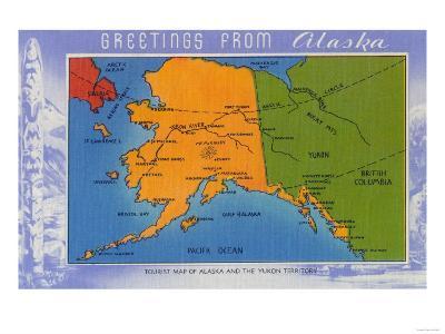 Alaska - Greetings From Alaska Map-Lantern Press-Art Print
