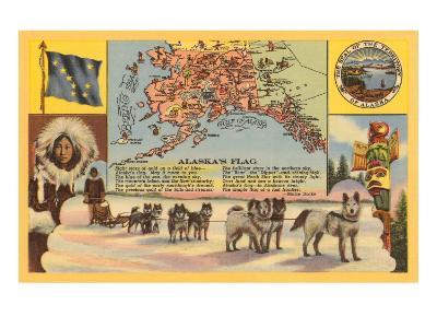 Alaska Map with Sled Dogs--Art Print