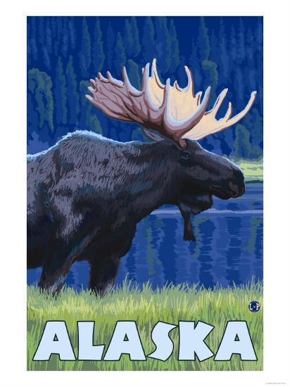 Alaska - Moonlight Moose-Lantern Press-Art Print