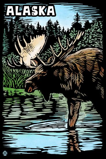Alaska - Moose - Scratchboard-Lantern Press-Wall Mural
