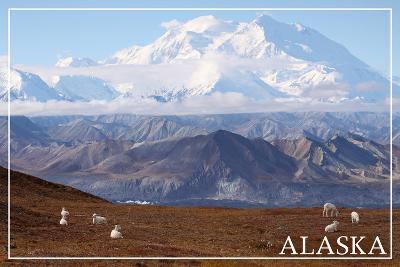 Alaska - Mt. McKinley and Goats-Lantern Press-Wall Mural