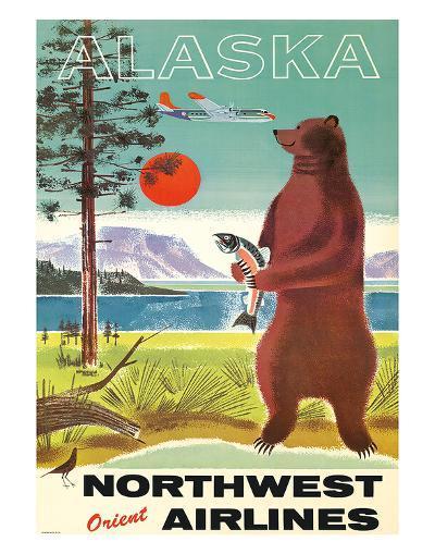 Alaska - Northwest Orient Airlines - Kodiak Alaskan Brown Grizzly Bear-Pacifica Island Art-Giclee Print
